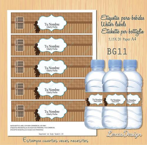 etiquetas botellas marron y azul  bg11