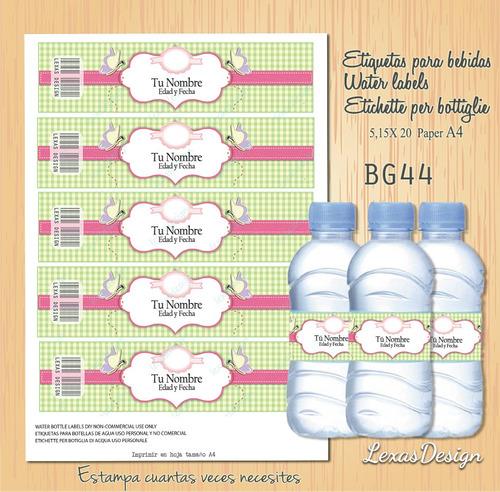 etiquetas botellas niñas  bg44
