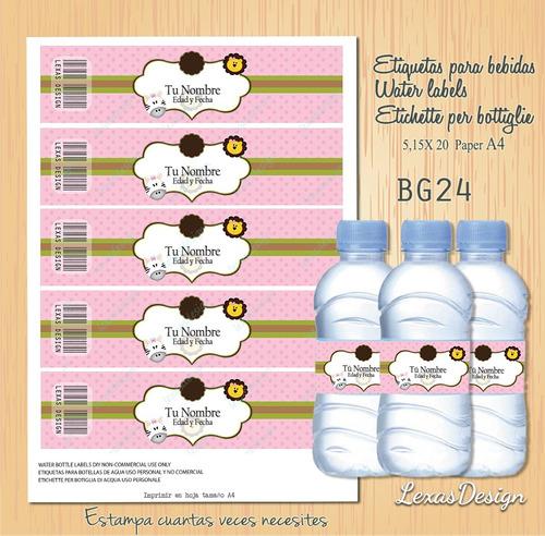 etiquetas botellas zoo safari niña bg24