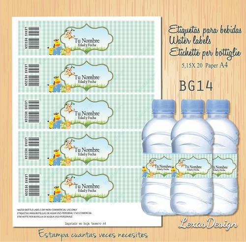 etiquetas botellas zoo safari unisex bg14