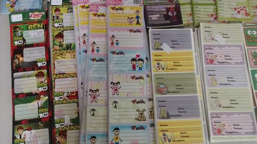 etiquetas cartelas adesivas escolar revenda c/ 100cartelas