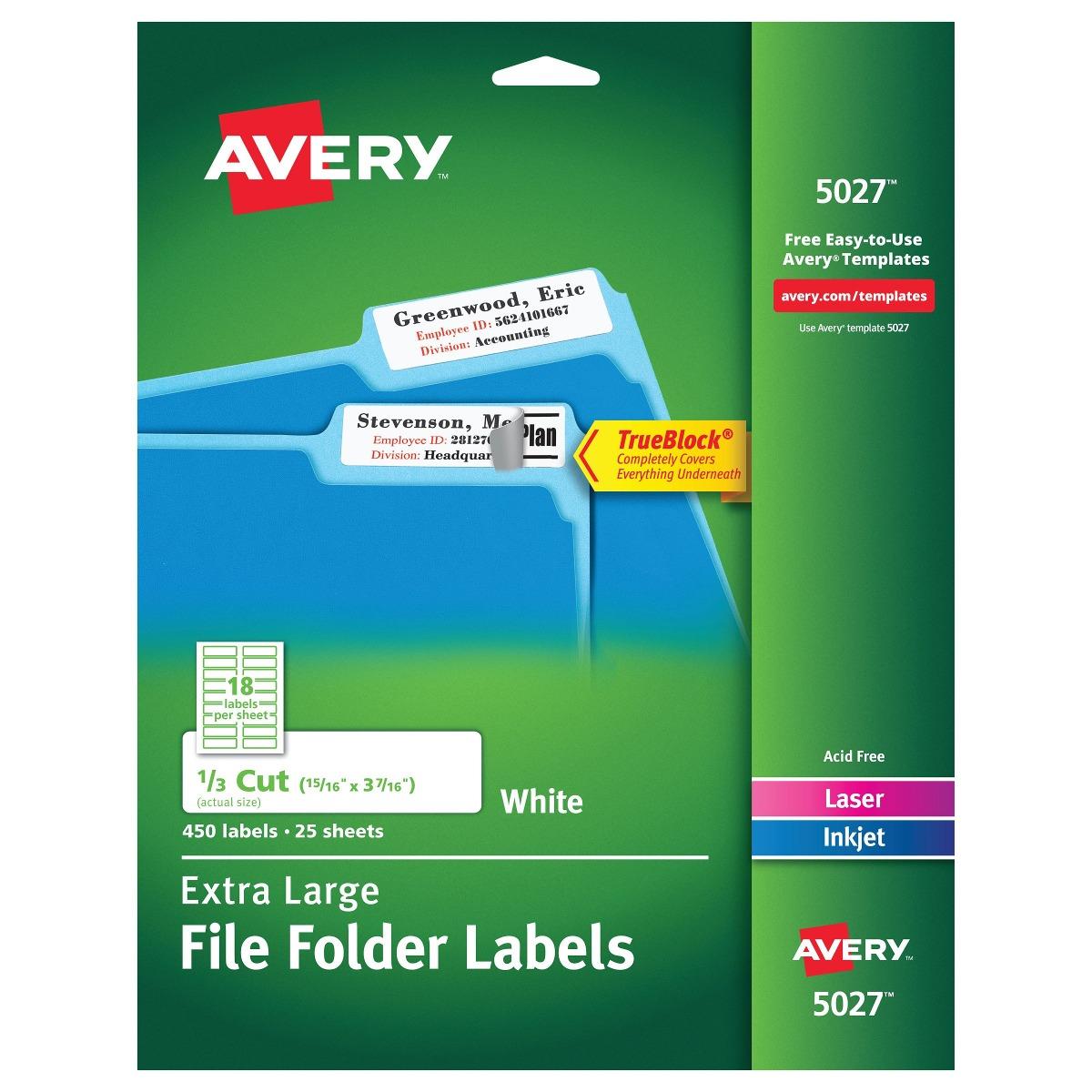 Etiquetas De Carpetas Extra Grandes De Avery White Para ...