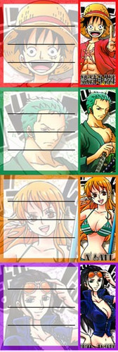 etiquetas de colegio de anime one piece luffy zoro nami robi