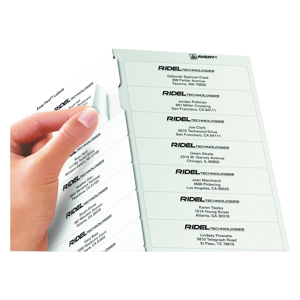 Etiquetas De Dirección Avery Easy Peel Para Impresoras Láser ...
