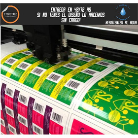 Etiquetas En Vinilo Impreso Troquelado De 5 Cm X 100 Unid