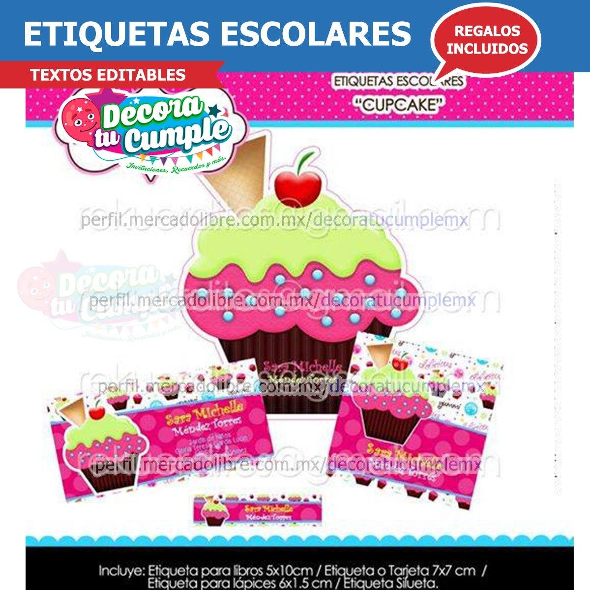 Etiquetas Escolares Cupcake Pastel Helado Imprimible H18 - $ 19.90 ...
