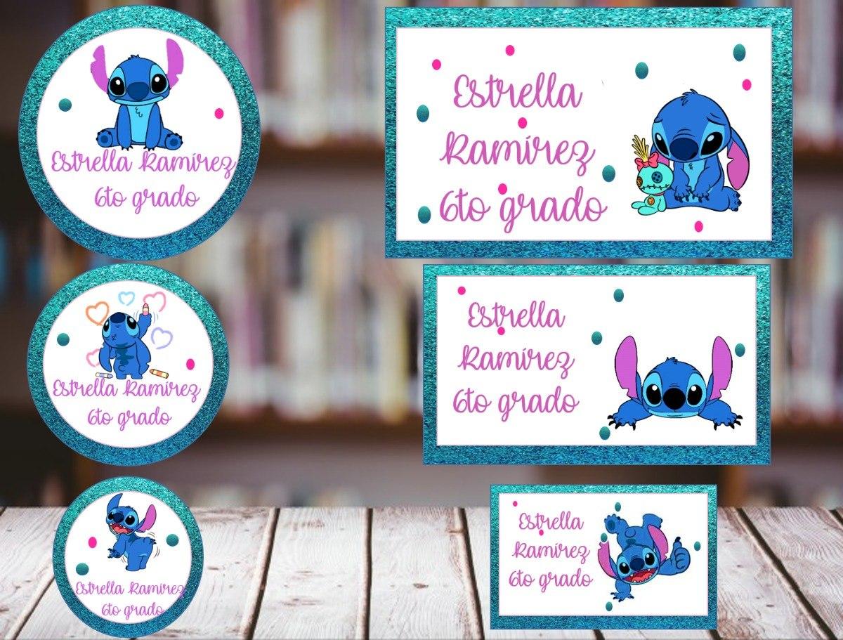 Imagenes Escolares Para Imprimir: Etiquetas Escolares De Stitch Para Imprimir (promo Mes 6