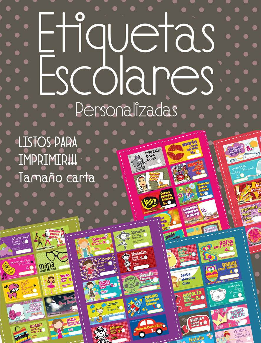 Etiquetas Escolares Personalizadas!!! Listas Para Imprimir - $ 50.00 ...