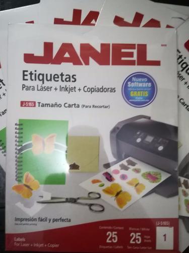etiquetas janel laser, inkjet, copia paq con 25 hojas