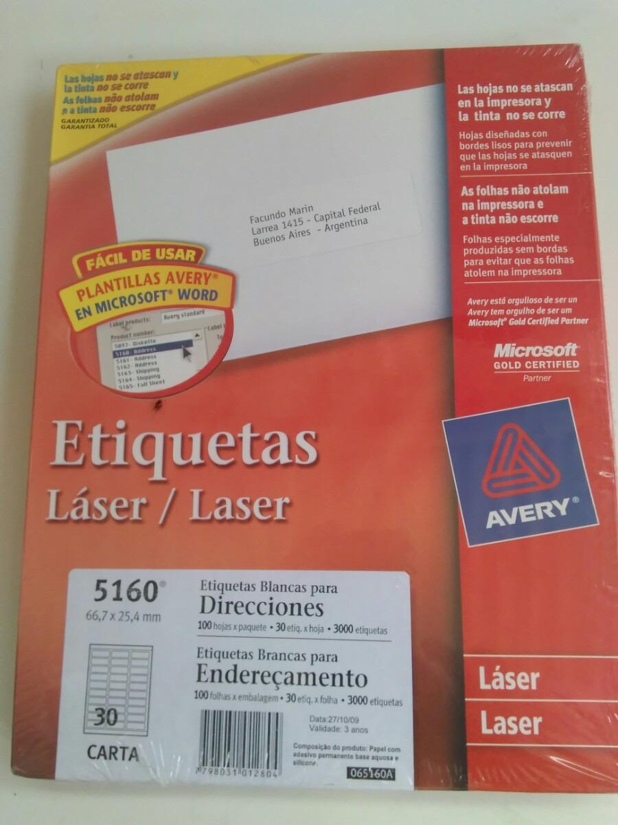 Etiquetas Laser Blancas Para Direcciones 5160 66,7x25,4mm - Bs. 200 ...