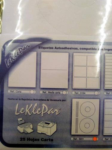 etiquetas leklepar cd/dvd (paqt. 25 hojas / 50 etiquetas)