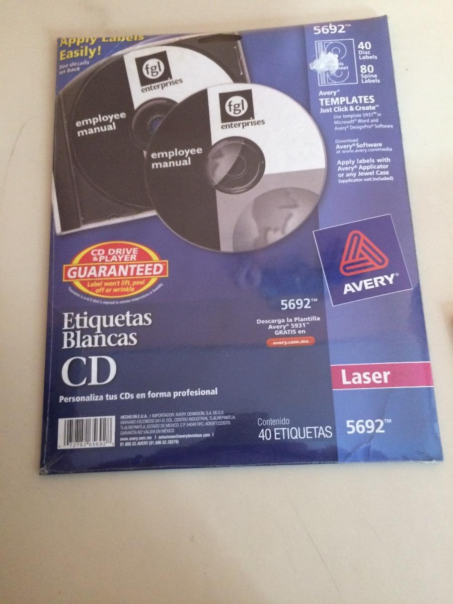 Etiquetas Para Cd Avery 5692 40 Hojas Láser E Ink Jet - $ 190.00 en ...