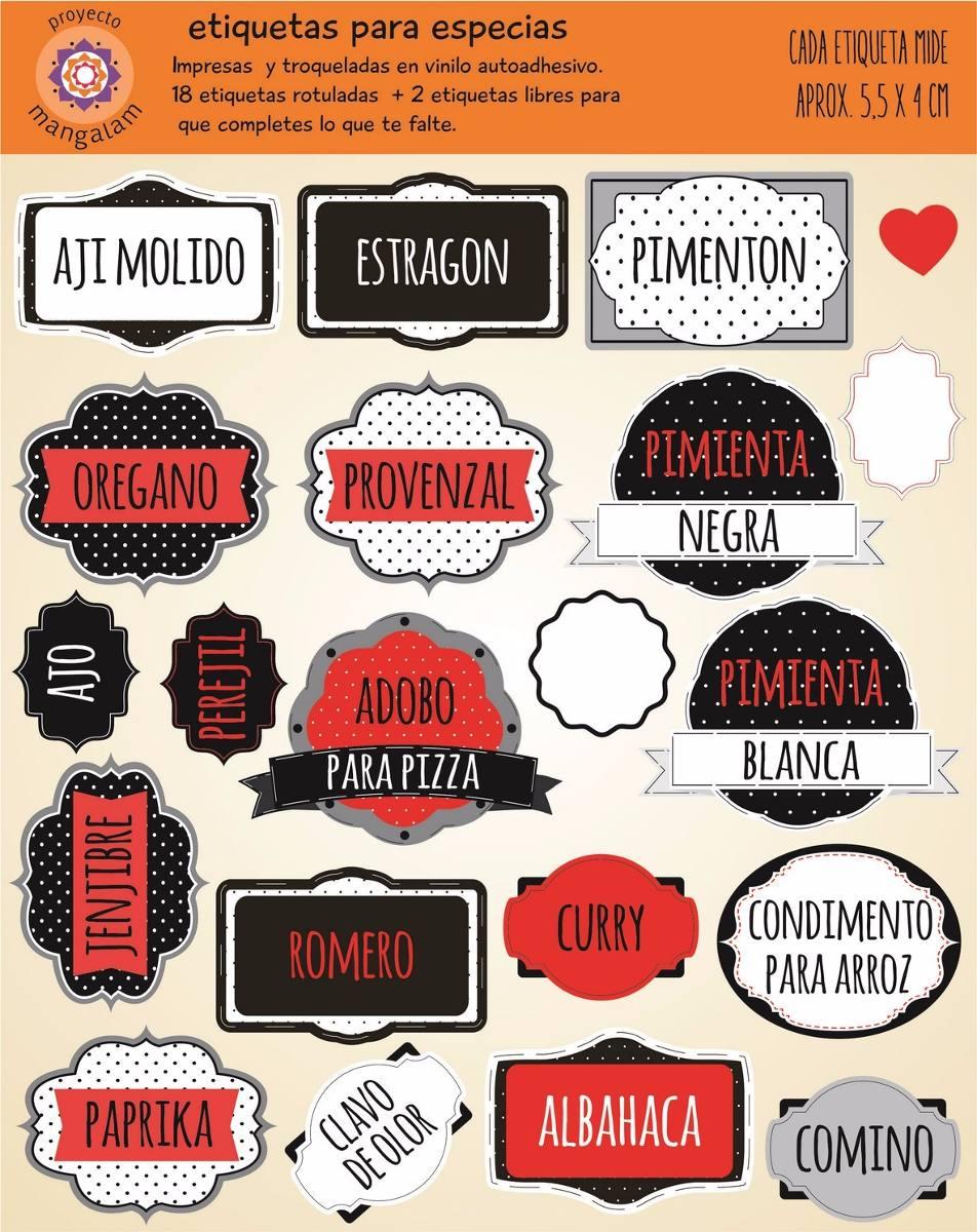 Etiquetas Para Especias Condimentos Cocina - $ 75,00 en Mercado Libre