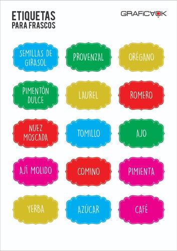 etiquetas para frascos - condimentos