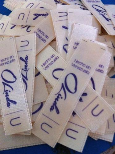 etiquetas para ropa personalizadas en raso y gross