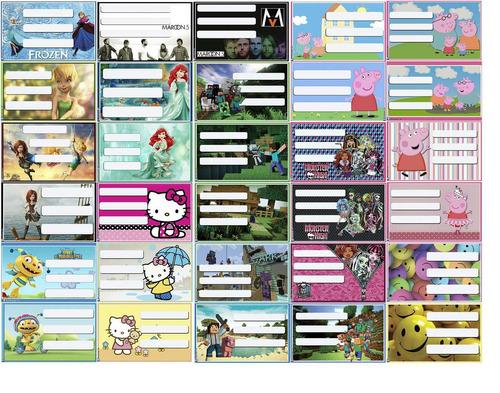etiquetas personalizadas para utiles escolares y cuadernos