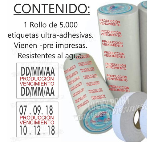 etiquetas produccion vencimiento para etiquetadora mx plus