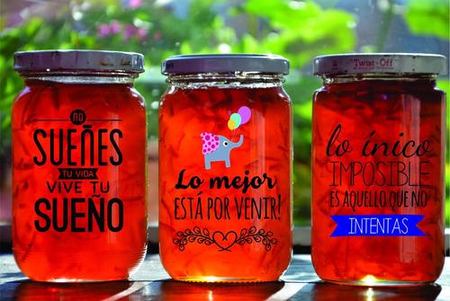 etiquetas / stickers autoadhesivos frascos vidrio x 12 un!!