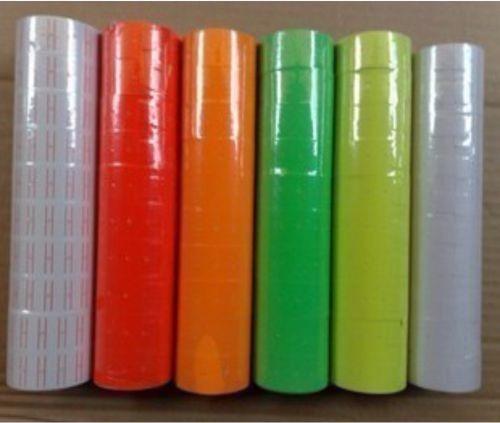 etiquetas universales con 10 rollos 22x12mm - color naranja