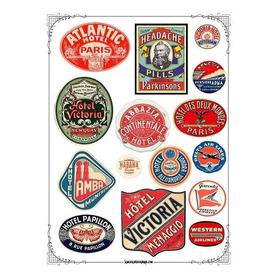 Etiquetas Vintage #25! Lámina Para Transferencias 21 X 29 Cm