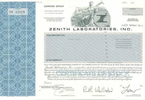 eua 1988 ação da zenith laboratories inc.