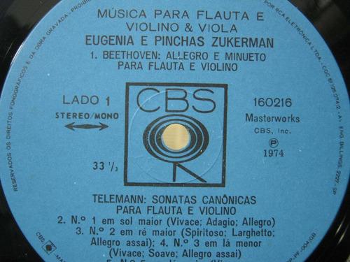 eugenia e pinchas zukerman - lp música para flauta e violino