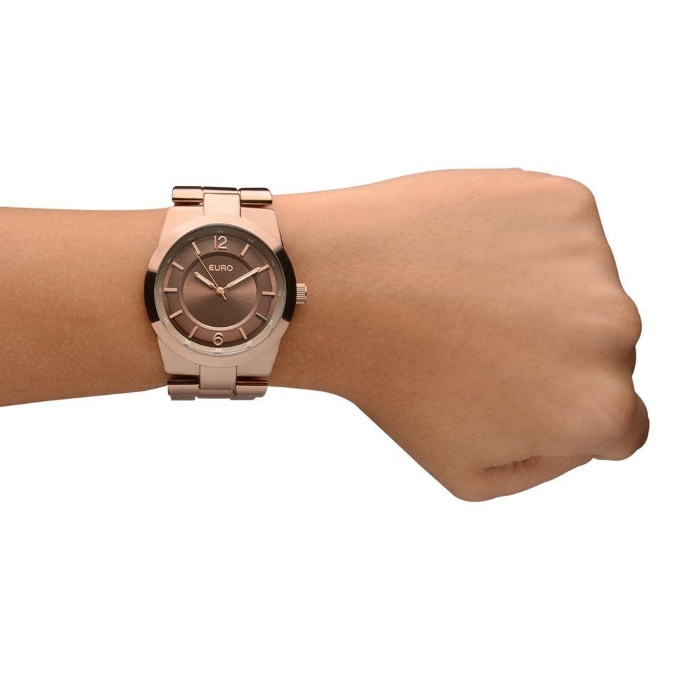 6db29e5e525 Euro - Relógio Feminino Pulseira Em Metal E Caixa Em Latã... - R ...