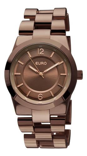 euro - relógio feminino pulseira em metal e caixa em latã...