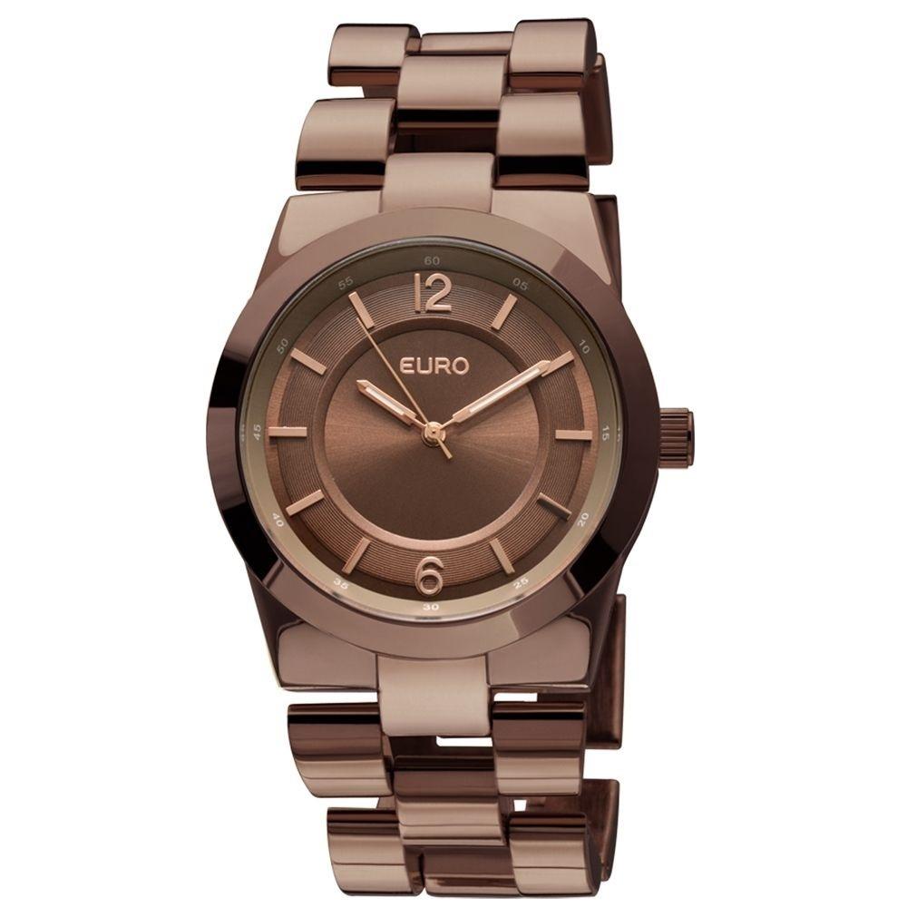 a2124e0f68c euro - relógio feminino pulseira em metal e caixa em latã... Carregando  zoom.