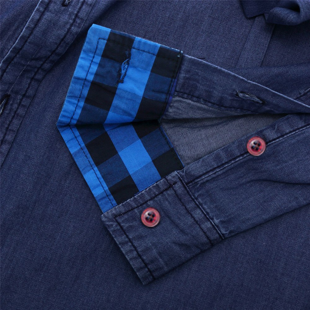 948cd9c0cb Europa Tamaño Hombres 's Casual Botón Jeans Camisas - $ 13.065 en ...