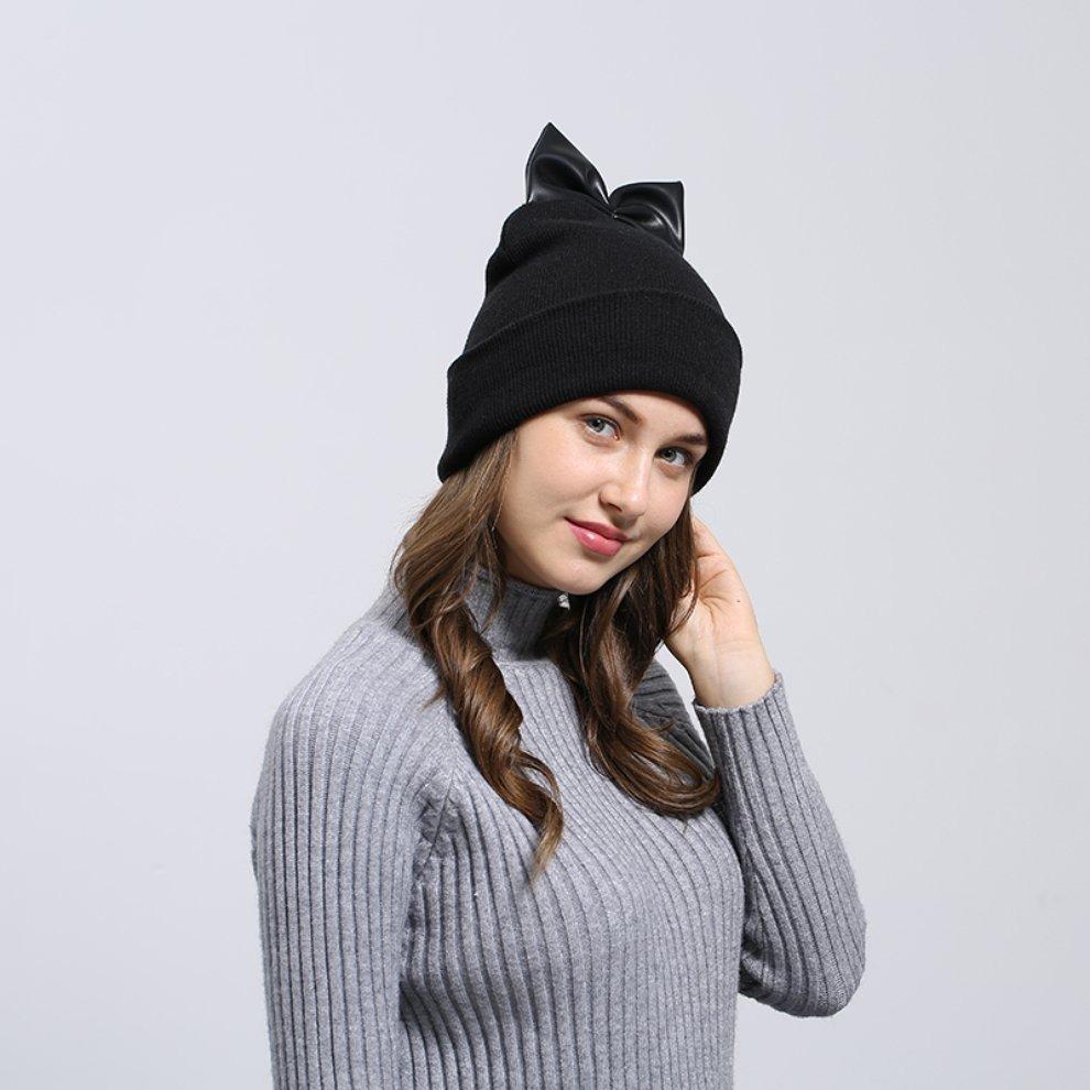 52a0d5a8b4171 Europeo Gorros Sombreros Caps Mujeres Invierno Bowknot De Pu ...