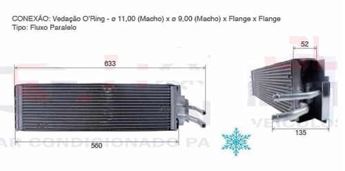 evaporador trator john deere 7500 / 7505 - fluxo paralelo
