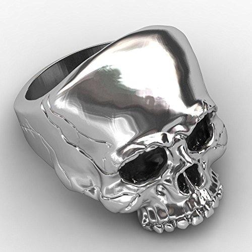 evbea skull rings para hombres big biker rock mens