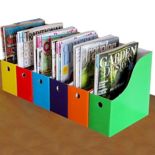 evelots 6 magazine / file holders & labels, assorted co