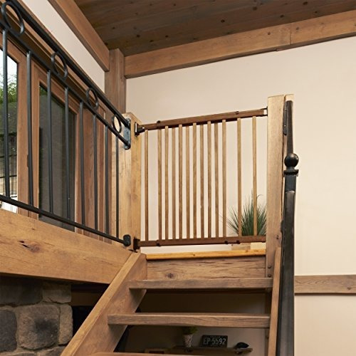 Dark Wood Evenflo Top of The Stair Extra Tall Hardware Mount Gate