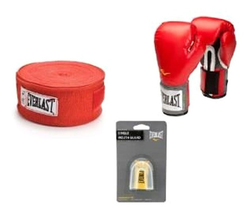 everlast - pack box - vendas de algodón rojo+protector+guant