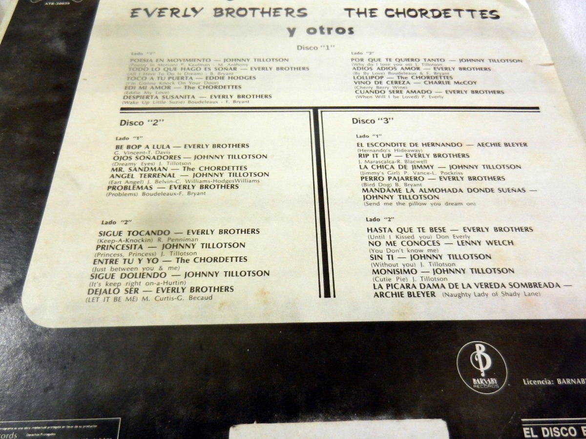 Everly Brothers The Chordettes Tillotson Originales Del Rock - $ 115 00