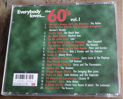 everybody loves the 60 s vol 1 cd nacional unica ed 1996 vmj