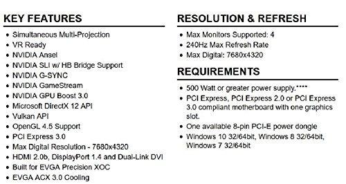 evga geforce gtx 1070 sc gaming acx 3.0 black edition, 8 gb