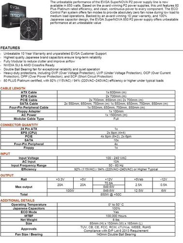 evga supernova 850 p2 power supply fuente de poder
