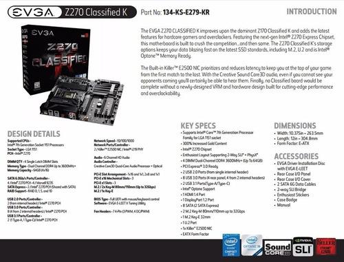evga z270 classified k motherboard board tarjeta madre