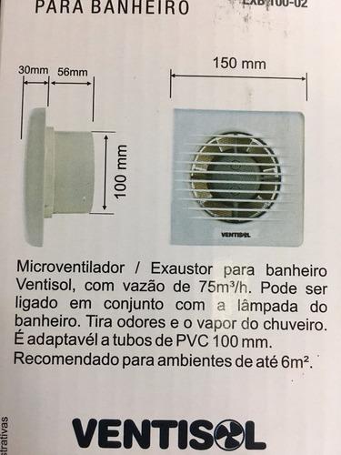 exaustor banheiro 100mm exb100 ventisol 220v