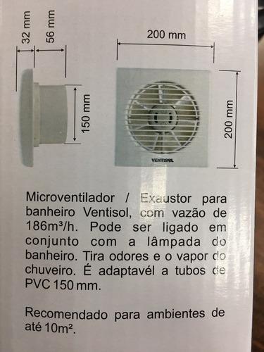 exaustor banheiro 150mm exb150 ventisol 127v