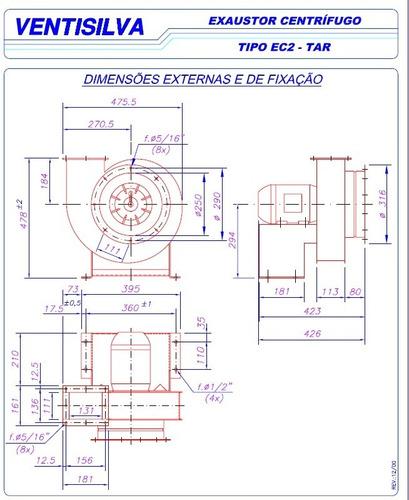 exaustor centrifugo 2hp blindado motor ventisilva ec2 tn tri