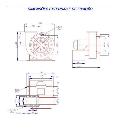 exaustor centrifugo miniturbo trifasico motor ½cv ventisilva
