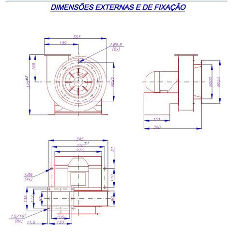 exaustor centrifugo miniturbo trifasico motor ½hp ventisilva