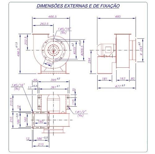 exaustor centrifugo motor 1cv blindado ventilador ventisilva