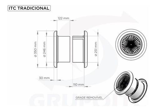 exaustor de cozinha itc tradicional p/ divisórias com tampa
