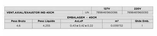 exaustor exaustão/ventilação 40cm 220v comercial sj ventisol