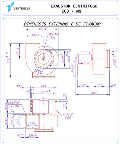 exaustor industrial centrífugo ventisilva monofásico ec3 mn